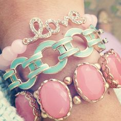 Arm candy kids! How about this MINT & pink together? Divine match!