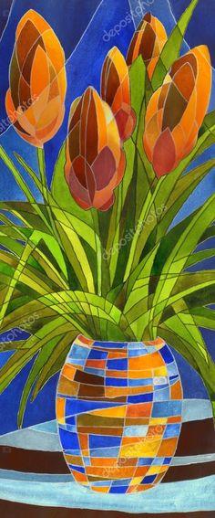 İndir - Soyut bir Vazoda Çiçekler - Stok İmaj #47905367