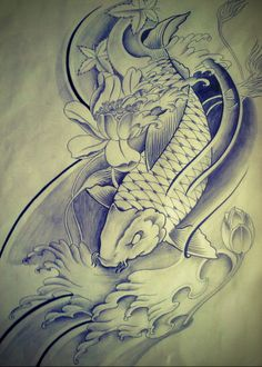 Half sleeve Koi Fish tattoo design by FingerPrint1404.deviantart.com on @deviantART