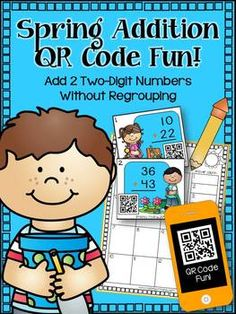 Spring Addition (2 Two-Digit Addition w/o Regrouping QR Fun) freee