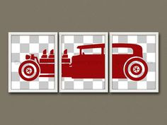"""8x10 (3) NURSERY PRINTS - Nursery Art, Nursery Decor, Childrens Art - Hot Rod / Muscle Car All prints have been designed to fit an 8""""x10"""""""