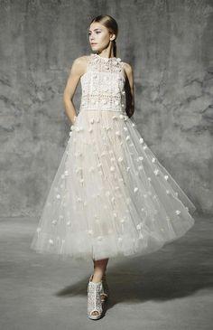 YolanCris Romantic Lace 2016 Tea Length Wedding Dress Balmes