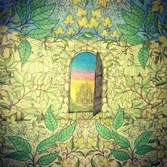 Inspirational coloring pages from Secret Garden, Enchanted Forest and other… Secret Garden Door, Garden Doors, Coloring Books, Coloring Pages, Colouring, Enchanted, Garden Design Ideas Videos, Colored Pencil Tutorial, Secret Garden Coloring Book