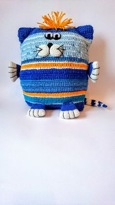 Promotion blue white Cat interior pillow crochet pillow от Gebeya