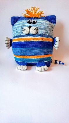 Promotion blue white Cat interior pillow crochet pillow от Gebeya