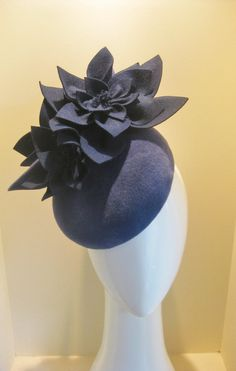 Two tone navy felt headpiece. The base is french velour felt in a slightly ligher navy than the flowers. The three flowers are dark navy in French vintage felt.