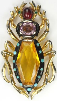 Trifari 'Alfred Philippe' Gold Citrine, Amethyst and Ruby Enamel and Turquoise Cabochons Bug Pin Clip