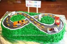 Homemade Hot Wheels on the Road Kids Birthday Cake: My ideas came mainly from others on this site so THANK YOU so much for providing this site for awesome ideas.  I LOVE this site!  I always go here before