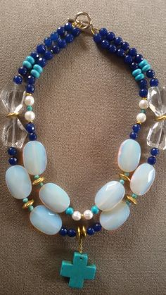 """""""peridereo""""- Multi gemstone 2 strands necklace with cross"""