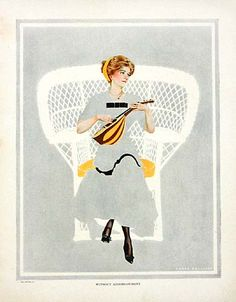 """Coles Phillips - """"Without Accompaniment"""" from """"A Gallery of Girls""""  also Life Magazine cover (June 15, 1911)  Fadeaway girl"""