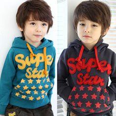 New 2013 fashion autumn cute stars design pullover sweatshirt jacket children kids toddler boys hoodies
