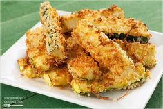 This recipe is a delicious way to eat healthier! Not only is it oven-fried, but zucchini is the main ingredient! #PankoBreadCrumbs #Zucchini #Emerils Side Dish Recipes, Veggie Recipes, Appetizer Recipes, Great Recipes, Cooking Recipes, Favorite Recipes, Appetizers, Side Dishes, Yummy Recipes