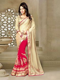 Beige and Pink Georgette Saree with Embroidery Work