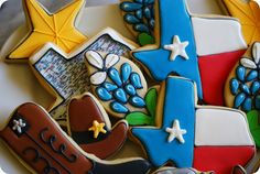 Texas cookies all around; How-to Texas Cookies Part 2 Texas, Texas map, Texas star, boots and hats.