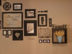 I just love this idea for going up the staircase...I love how they combined objects rather then just picture frames