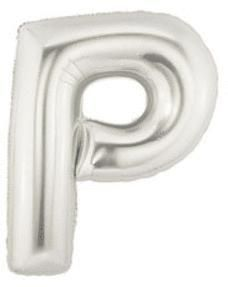 14'' Silver Megaloon P - Inflated Foil Balloon, air-fill