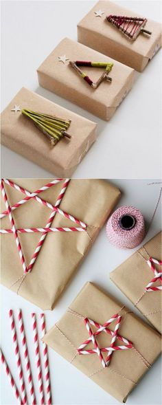 16 Favorite Easy Gift Wrapping Ideas (Many are Free!) 16 Favorite Easy Gift Wrapping Ideas (Many are Free! DIY 16 inspiring gift wrapping hacks on how to make instant gift bags and beautiful gift. Christmas Gift Wrapping, Diy Christmas Gifts, Christmas Decorations, Christmas Ideas, Christmas Stars, Paper Decorations, Holiday Bags, Noel Gifts, Paper Garlands