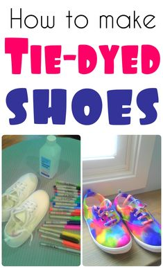 How to tie-dye white canvas shoes Add some color to your cheap canvas shoes with this fun DIY on how to tie-dye your shoes! Diy Tie Dye Shoes, How To Dye Shoes, How To Tie Dye, Dyed Shoes, Sharpie Shoes, Sharpie Tie Dye, Diy Tie Dye Canvas, Diy Galaxy Shoes, Tie Dye Converse