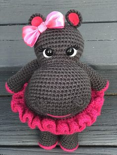 Amigurumi Hippo Girl Hippo This beautiful and tender amigurumi Girl Hippos are great for the stuffed animal lover, She is 13 Inches tall, its made with acrylic yarn, safety eyes and fiber fill. Important: THIS ITEMS ARE MADE TO ORDER please allow me 8-10 businesses days for your Items