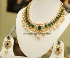 Oval Green Emerald Polki Necklace