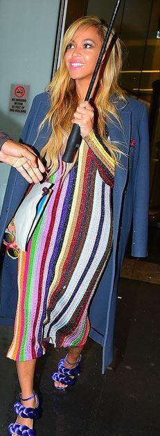 Who made Beyonce's rainbow stripe dress and purple braid sandals?