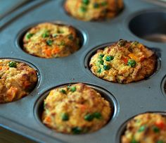 Meatloaf Muffins with ground turkey, eggs, sweet potato and frozen peas & carrots mix
