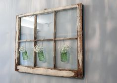 Beautiful Old Window Frame Decor Ideas with Small Glass Bottle plus Small Flowers hanging on Wall - Old Windows Ideas to Renew the Appearance of Your Residence – VizDecor Windows, Chip And Joanna Gaines, Window Wall Decor, Old Window Decor, Rustic Crafts, Farmhouse Diy, Nursery Wall Decor, Farmhouse Style Diy, Farmhouse Style Decorating