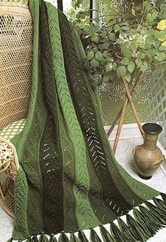 Shades of Green Afghan (knit strips)
