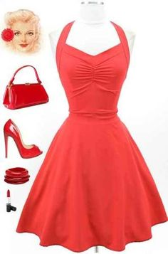 50s Style Red Marilyn Inspired Halter Sun Dress with Gathered Bust Full Skirt   eBay