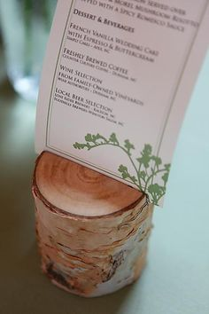 Nothing more eco than a lump of wood - simple idea wood menu holder