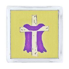 Purple Robe On Cross Silver Finish Lapel Pin
