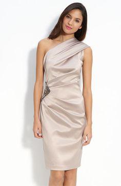 Eliza J Beaded One Shoulder Satin Dress - Gold