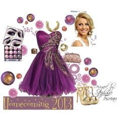 """""""Homecoming 2013"""" by premier-diva on PolyvoreHave a Passion for Purple.  Adorn this dress with great gold accents.  Add WOW Factor necklace ($59) and bracelet ($34) and Gold Reflections ring ($45) to the sequin handbag and rhinestone studded heals and you are a ready for a night of Dancing at Your Homecoming.  To get this look contact me at Premier Diva Stephanie on Facebook, Steph_Tesreau on Twitter or email at Premier.Diva@ymail.com."""