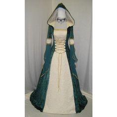 Medieval Dress Celtic Wedding Dress Renaissance Wedding Dress Elven... ($230) ❤ liked on Polyvore featuring dresses, medieval, medieval dresses, grey and women's clothing