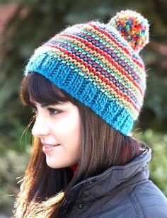 Yarnspirations.com - Patons Bright Stripes Beanie - Patterns  | Yarnspirations