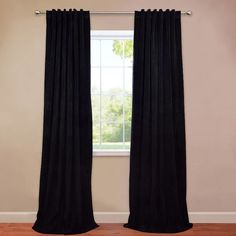 Laurel Foundry Modern Farmhouse Albert Solid Velvet Blackout Thermal Rod Pocket Single Curtain Panel Size per Panel: L x W, Curtain Color: Wa