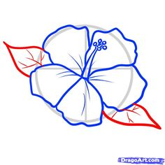 how to draw hibiscus flower step by step