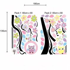baby swings with owls | Colorful Owl on Swing Birds Flowers Tree Wall by idoidoforeverlove, $ ...