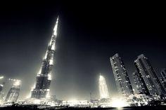 Burj Khalifa Worlds Tallest Building black and white photography