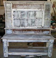 Potting table with shutters and window