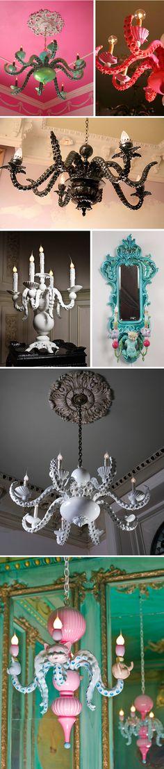 Octupus Chandeliers By Adam Wallacavage HERE U GO LOTS OF IDEAS FOR U MELI