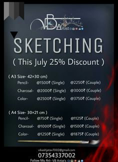 Starting Price @750₹ Only 🎨✌ (25% discount on all sketches) Share ahead ✌ www.Instagram.com/vb_artist www.facebook.com/vbartist7