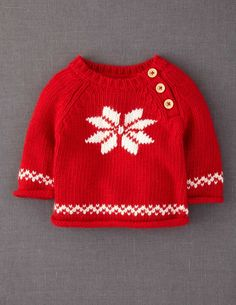 the large snowflake is an example of intarsia knitting, the hem bands are stranded. No pattern but a nice idea. Baby Knitting Patterns, Christmas Knitting Patterns, Knitting For Kids, Baby Patterns, Cardigan Bebe, Baby Cardigan, Knitted Christmas Jumpers, Christmas Sweaters, Winter Sweaters