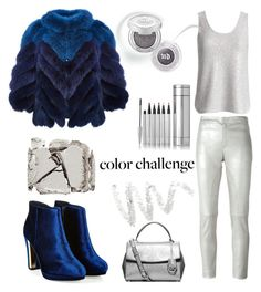 """Silver lining"" by mood-chic ❤ liked on Polyvore featuring Waverly Grey, Drome, J. Mendel, MICHAEL Michael Kors, Urban Decay, Cynthia Rowley, Surratt and blueandsilver"