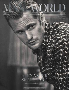 El actor sueco Alexander Skarsgård  es fotografiado por Guy Aroch  en blanco y negro para la edición de otoño de Man of the World , luci...