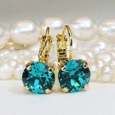 Teal Green Earrings Peacock Drop Earrings Blue Zircon Swarovski Crystal Single Stone Earrings Swarovski Rhinestones,Gold,BLUE ZIRCON,GE2