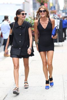 Anna Dello Russo using touches of blue to make this LBD pop... #nyfw #streetstyle