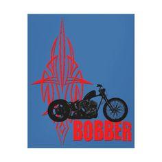 Bobber Motorbike Gallery Wrap Canvas. #bobber #chopper #harley #kustom #kulture #pinstripe #pinstriping #custom #biker #hotrod #gifts #zazzle
