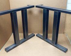 Plaza moderna mesa de comedor patas, piernas Industrial, conjunto de patas de acero 2 por MetalAndWoodDesign
