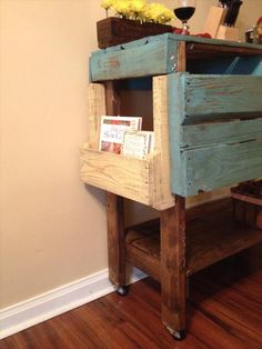 Pallet piece...island, cart, bar...pallet portions, stained and painted